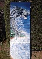 sur Porte de salle de bain: Dolphin...