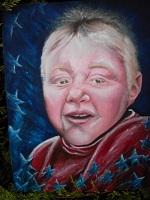 portrait enfant: sur toile cartonné et vernis pour Birthday